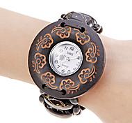 Women's Black Wood Case Elastic Band Quartz Bracelet Watch