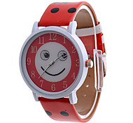 Women's Smiling Face Dial Red PU Band Analog Quartz Wrist Watch Cool Watches Unique Watches