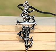 Vintage (Sword) Black Leather Pendant Necklace(Silver) (1Pcs)