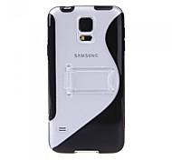 Transparente Farbe S-förmigen TPU + PC Material Schutzhülle Halterung für Samsung Galaxy i9600 S5