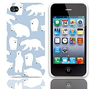Polar Bear Pattern Hard Case with 3-Pack Screen Protectors for iPhone 4/4S