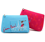 Cartoon Colorful Paris Eiffel Tower Clutch Cosmetic Bag Makeup Storage Bag(Assorted Color)