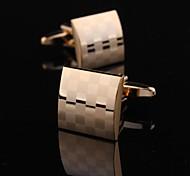 Fashionable 1.5cm Men's Gold Copper Cufflink (Gold)(1pair)