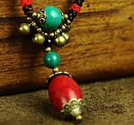 Fashion (Oval Stone Pendant) Black Fabric Statement Necklace (1 Pc)
