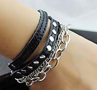 Z&X®  Punk 25cm Men's  Black Leather Wrap Bracelet(Black,White,Orange,Yellow,Rose)(1 Pc)
