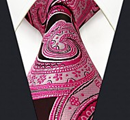 P19 Shlax & Wing Necktie Paisley Pink Black Mens Tie Extra Long Size Wedding Party