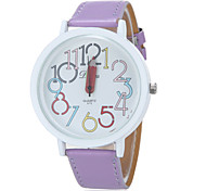 Women's Colorful Numbers Round Dial PU Band Analog - Digital Wrist Watch