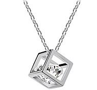 Z&X®  European  Cubic Shape Multicolor Alloy Pendant Necklace(Gold,White) (1 Pc)