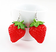 Alloy Stereo Strawberry Pattern Earrings