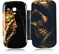 Cráneo Poker cuero de la caja de cuerpo completo para Samsung Galaxy S3 I8190 Mini