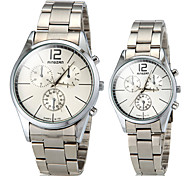 Couple's Simple Line Pattern Round Dial PU Band Quartz Analog Fashion Watch(Assorted Color)