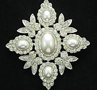 6.5cm Clear Rhinestone Imitation Pearl Brooch Pin for Wedding Bridal (buy 1 get 2 free gifts)