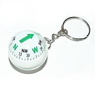 Ball Style  Compass Keychain - White