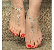 Shixin® Classic Flower Shape Bead Silver Alloy Barefoot Sandal(1 Pc)