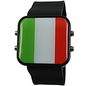Unisex LED Italy Flag Style Silicone Band Wrist Watch(Assorted Colors) Cool Watch Unique Watch