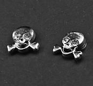 Punk Blanco Rhinestone del cráneo pendientes magnéticos (1 par)