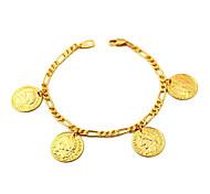 u7® cadeias Figaro ouro cheias de encantos moeda pulseiras bangles 18k verdadeiro banhado a ouro 18k com carimbo de 2 milímetros 21 centímetros