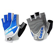 Cycling Anti-skid Shockproof Half-finger  Blue+White Nylon Gloves