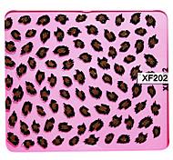 3D Brown Leopard Grain Design Stickers Nail Art