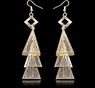 (1 Pair)European (Triangle Tassel) as Picture Alloy Drop Earrings(Golden)