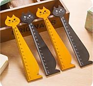 Cat Shape Wooden Ruler (Random Color)