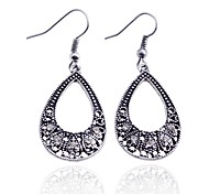 Lureme®Vintage Hollow out Crystals Waterdrop Earring