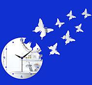 "17.75""H Modern Style Butterfly Mirror Wall Clock"
