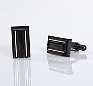 Men's Bright Silver/Black 316L Stainless Steel Cufflinks