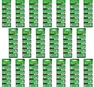 TianQiu HW01 AG1 1.55V Alkaline Cell Button Batteries - Silver (20 Packs / 200 PCS)