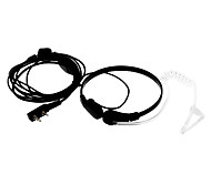 Throat Control Noise Cancelling Earphones w/ Microphone for Walkie Talkie / Two Way Radio - Black