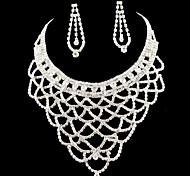 Conjuntos de Jóias nupcial do casamento da dama de honra colar brincos de cristal