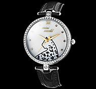 Women's Diamante Leopard Pattern Round Dial PU Band Quartz Analog Fashion Watch (Assorted Color)