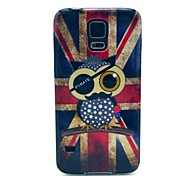 UK Flag Owl Pattern TPU Soft Case Cover for Samsung Galaxy S5 I9600