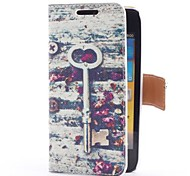 Vintage Key and Flowers Style Leather Case with Card Slot and Stand for Samsung Galaxy S Advance i9070