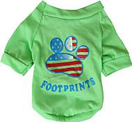 Hunde T-shirt Grün / Gelb Hundekleidung Frühling/Herbst Nationalflagge / Amerikaner / USA
