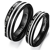 Han Edition Fashion Personality Black And White Memory Between Lovers To Buddhist Monastic Discipline Titanium Steel Ring
