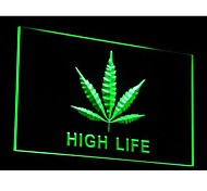 Marijuana Hemp Leaf High Life Neon Light Sign