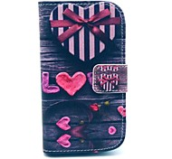 Love Heart Pattern PU Leather Case with Card Slot and Stand for Samsung Galaxy S3 mini I8190