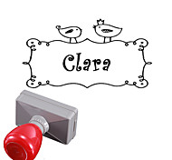 Personalized 33x63mm Wedding & Business Bird Pattern Rectangle Engraved Photosensitive Signet Name Stamp(within 10 Letters)