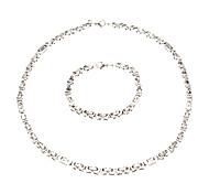 European Simple Silver Titanium Steel Chain Necklace (1 Pc)