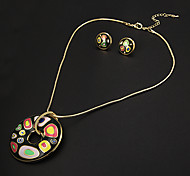 Vingtage Circular Multicolor Irregular Stone Pattern  Gold Plated (Necklaces&Earrings) Jewelry Sets