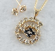 Miss ROSE®Zircon Snail Pattern Earrings & Necklace Jewelry Set
