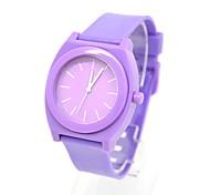 Women's Round Dial Plastic Band Quartz Analog Wrist Watch (Purple)