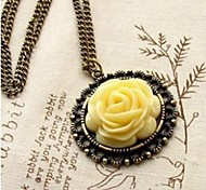 Желтая роза Ретро Палас свитер цепи ожерелье