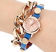 Vrouwen Cable Chain Decor ronde wijzerplaat pu band quartz analoog Fashion Watch (assorti kleur)
