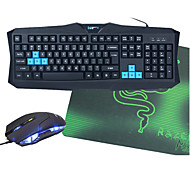 V90 Wired USB Optional Waterproof Gaming Keyboard + Mouse + Mouse Pad