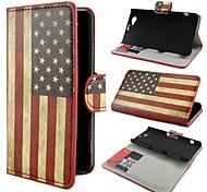 Retro USA-Flagge-Ledergeldbörse mit Standplatz-Fall-Abdeckung für Sony Xperia Mini Z1 Compact D5503