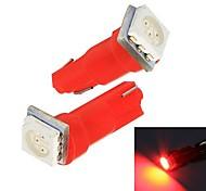 Merdia 0.25W 14lm T5 1x5050SMD LED Red Light Instrumento carro / matrícula lâmpada (12V / Par)