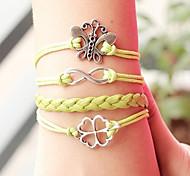 Shixin® European Clover 18cm Women's Yellow Leather Wrap Bracelet(1 Pc)