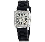 Vrouwen Diamante Dual-gefietst ronde wijzerplaat legering band Quartz analoog Fashion Watch (assorti kleur)